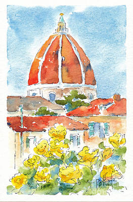 Rooftops Painting - Duomo From Il Villino by Pat Katz