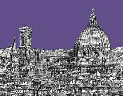 Lilacs Drawing - Duomo In Lilac by Adendorff Design