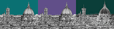 Duomo Triptych Lilac And Turquoises Print by Adendorff Design