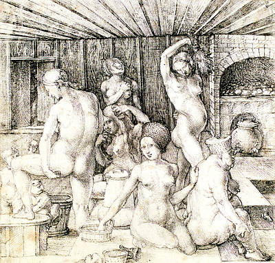 Durer Woman's Bath Drawing Print by