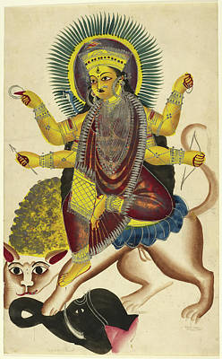 Goddess Durga Photograph - Durga As Jagaddhatri Riding On Her Lion by British Library