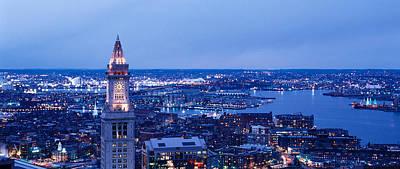 Boston Ma Photograph - Dusk Boston Massachusetts Usa by Panoramic Images