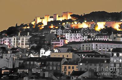 Dusk Falls On St. George Castle Lisbon Print by Linda  Parker