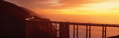 Coast Highway One Photograph - Dusk Hwy 1 W Bixby Bridge Big Sur Ca Usa by Panoramic Images