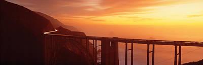 Dusk Hwy 1 W Bixby Bridge Big Sur Ca Usa Print by Panoramic Images