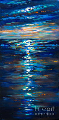 Linda Olsen Painting - Dusk On The Ocean by Linda Olsen