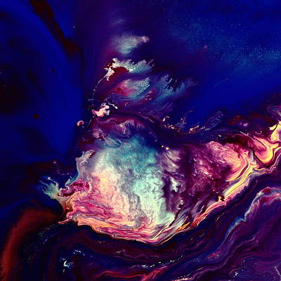 Blue Abstract Mixed Media - Dust Wave - Temporary Abstract Art By Kredart by Serg Wiaderny
