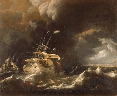 Dutch Merchant . Ships In A Storm Print by Ludolf Bakhuizen