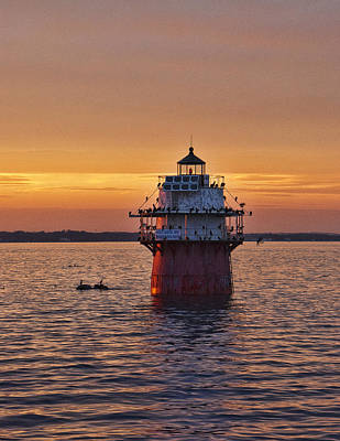Duxbury Pier Light At Sunset Print by Phyllis Taylor