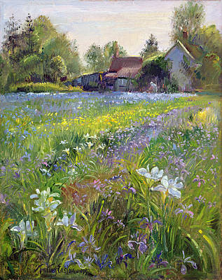 Meadow Painting - Dwarf Irises And Cottage by Timothy Easton