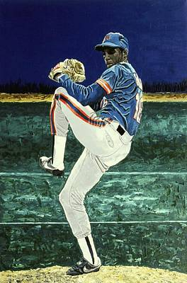 Major League Baseball Painting - Dwight Gooden - New York Mets by Mike Rabe