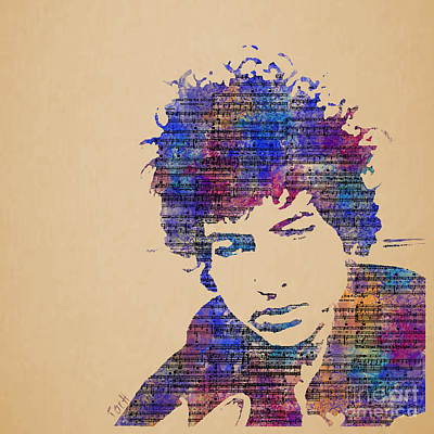 Bob Dylan Digital Art - Dylan Watercolor by Laura Toth