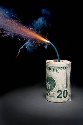 Burning Money Photograph - Dynamite Cash With Lit Fuse by Joe Belanger