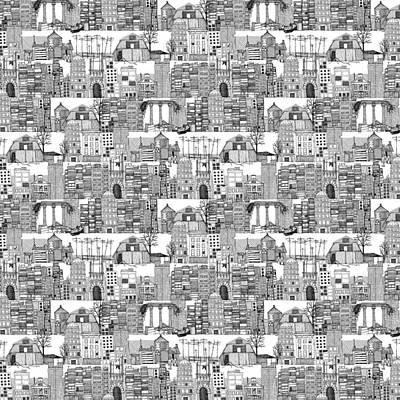 Dystopian Toile De Jouy Black White Print by Sharon Turner