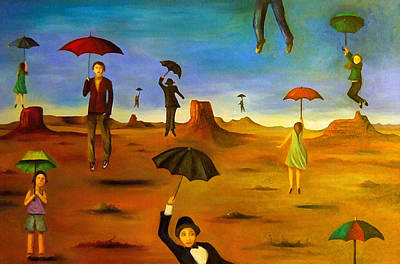 Spirit Of The Flying Umbrellas Edit 3 Print by Leah Saulnier The Painting Maniac