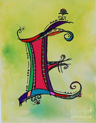 Fairy Hearts Pink Flower Painting - 'e' Monogram by Joyce Auteri