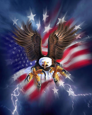 Lightning Digital Art - Eagle Burst by Jerry LoFaro