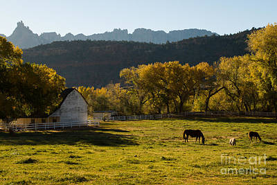 Eagle Crags Above Two Feathers Ranch Rockville Utah Print by Robert Ford