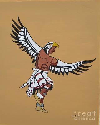 Indian Dance Drawing - Eagle Dancer by Bud  Barnes