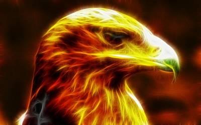 Yellow Digital Art - Eagle Glowing Fractal by Lilia D