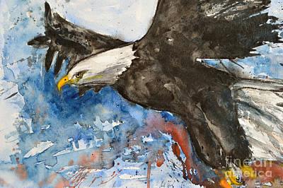 Eagle In Flight Print by Ismeta Gruenwald