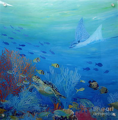 Eagle Ray Painting - Eagle On The Reef by Danielle  Perry