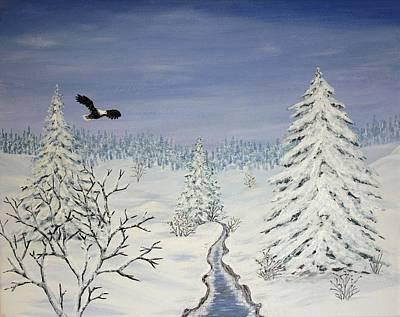 Winter Scene Painting - Eagle On Winter Lanscape by Georgeta  Blanaru