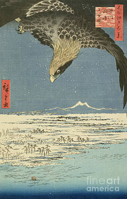 Eagle Over One Hundred Thousand Acre Plain At Susaki Print by Hiroshige