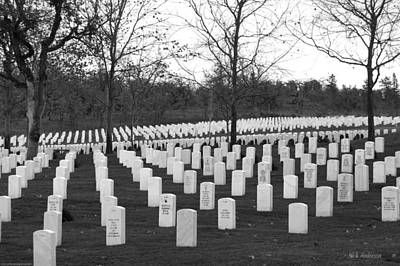 Eagle Point National Cemetery In Black And White Print by Mick Anderson