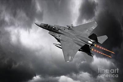 F-15 Digital Art - Eagle Power by J Biggadike