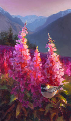 Eagle River Summer Chickadee And Fireweed Alaskan Landscape Original by Karen Whitworth