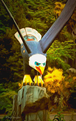 Totem Pole Painting - Eagle Sculpture by Floyd Snyder