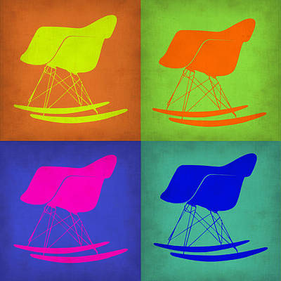 Chairs Digital Art - Eames Rocking Chair Pop Art 1 by Naxart Studio