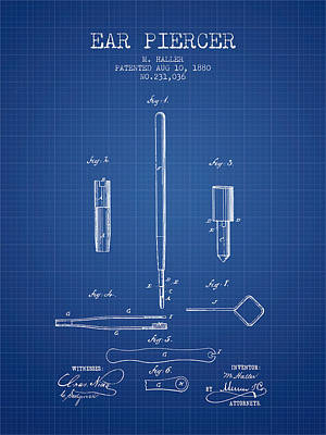 Piercing Drawing - Ear Piercer Patent From 1880 - Blueprint by Aged Pixel