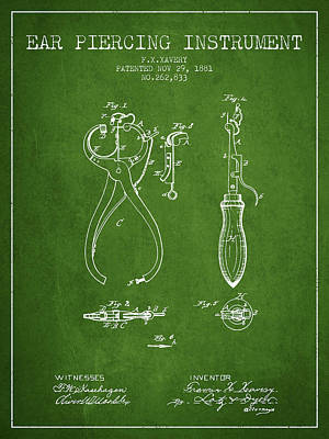 Piercing Drawing - Ear Piercing Instrument Patent From 1881 - Green by Aged Pixel