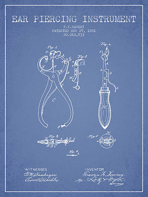 Piercing Drawing - Ear Piercing Instrument Patent From 1881 - Light Blue by Aged Pixel