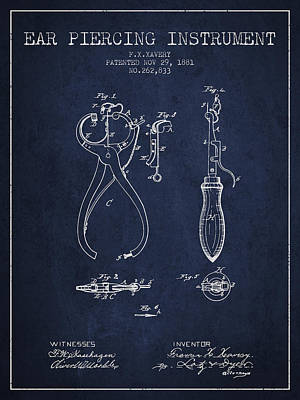 Piercing Drawing - Ear Piercing Instrument Patent From 1881 - Navy Blue by Aged Pixel