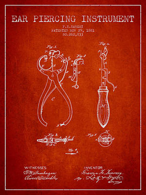 Piercing Drawing - Ear Piercing Instrument Patent From 1881 - Red by Aged Pixel