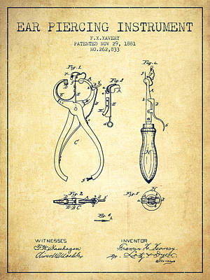 Piercing Drawing - Ear Piercing Instrument Patent From 1881 - Vintage by Aged Pixel