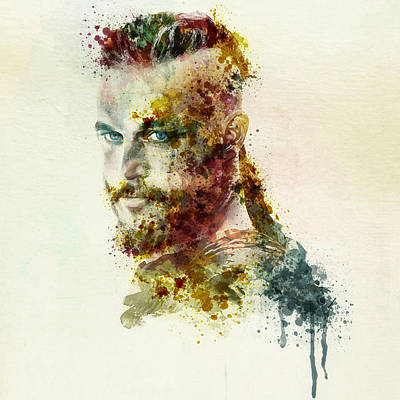 Earl Ragnar Lothbrok In Watercolor Print by Marian Voicu