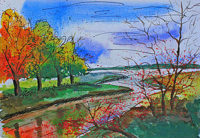 Early Autumn Landscape Print by Shakhenabat Kasana