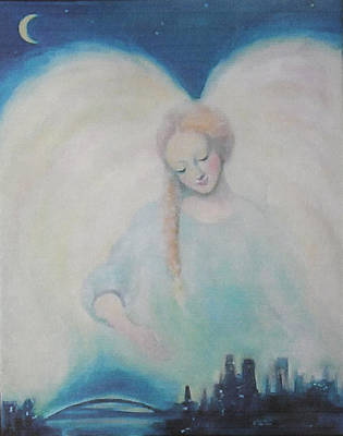 Night Angel Painting - Early Dawn Angel Overlooking Commuters by Asha Carolyn Young