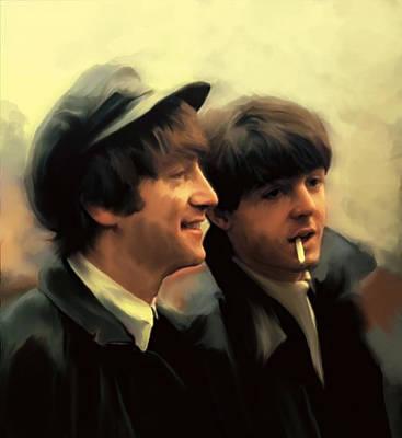 John Lennon David Pucciarelli Drawing - Early Days II John Lennon And Paul Mccartney by Iconic Images Art Gallery David Pucciarelli
