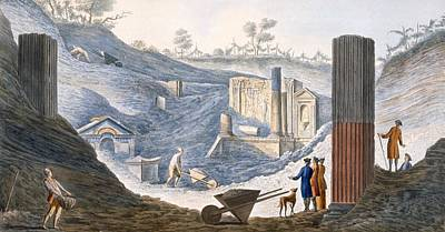 Site Drawing - Early Excavations At Herculaneum by Pietro Fabris