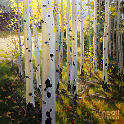 Landscape Oil. Aspen Trees Painting - Early Fall Colors Of Aspen by Gary Kim