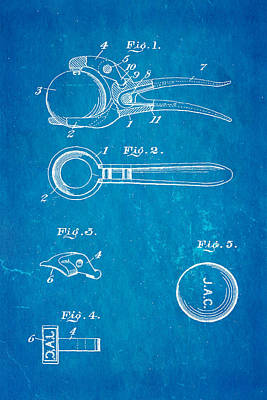 Early Golf Ball Marker Patent Art 19th Century Blueprint Print by Ian Monk