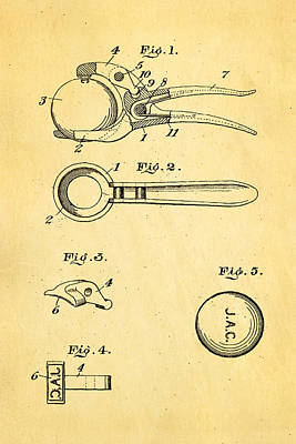 Early Golf Ball Marker Patent Art 19th Century Print by Ian Monk
