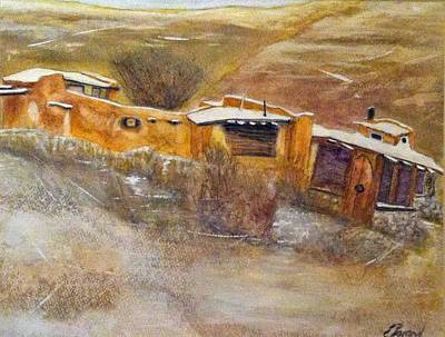 Haunted House Painting - Early Houses Of Placitas Nm by Elizabeth  Bogard