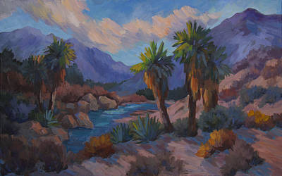 Canyon Painting - Early Light On Palm Trees by Diane McClary