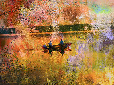 Early Morning Fishermen Looking For That Perfect Spot Print by J Larry Walker